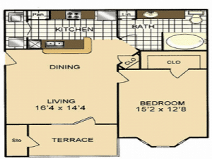 One bedroom apartment for rent in San Antonio