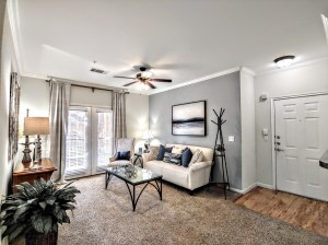 Two Bedroom Apartments in San Antonio, TX - Model Living Room & Front Door (2)